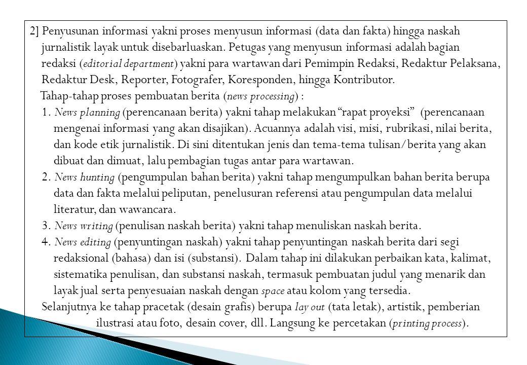2] Penyusunan informasi yakni proses menyusun informasi (data dan fakta) hingga naskah